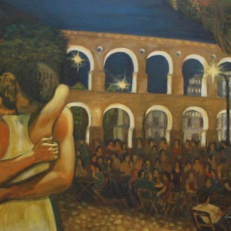 """Reencuentro/despedida en Lapa"". Óleo. 50×70cm"