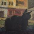 """""""Gato en la azotea"""", Acrílico sobre lienzo, 30x30cm"""